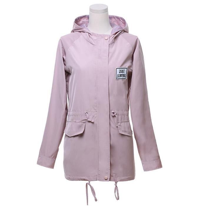 Rose Manteau Femme Mi longue Veste Coupe vent Imperméable avec Capuche Lacet Boutonné Grande Taille Décontracté Automne Hiver