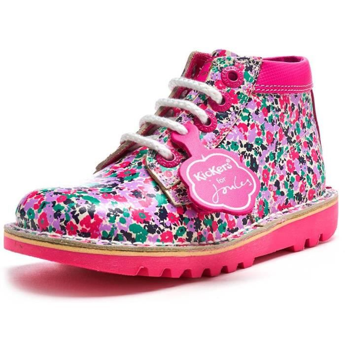 Kickers for Joules Special Edition Kick Hi Infant Cuir Print Bottes en Blanc & Rose 115157 [Enfant UK 11EU 29]