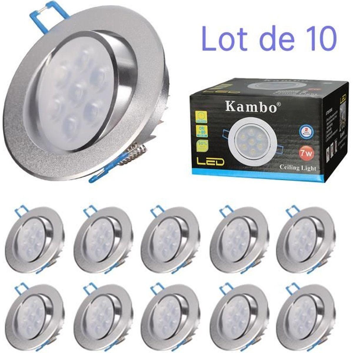 10x DEL installation Projecteur Blanc Plafonniers variateur environ de Cuisine Spot Lampes