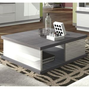 Brera table basse carr e laqu blanc bois gris achat for Table basse carree bois gris
