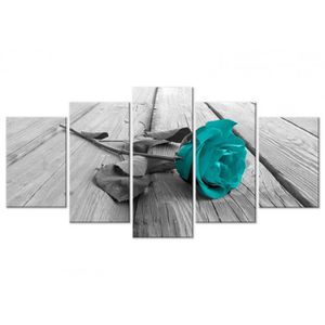 TABLEAU - TOILE Tableau design Rose on Wood (5 Parts) Wide Turquoi