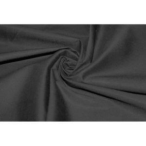 TISSU Tissu Popeline Coton/Elasthane Noire -Coupon de 3m