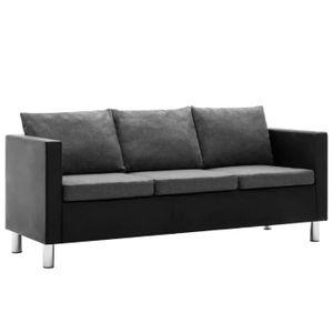 CANAPÉ - SOFA - DIVAN Canapé à 3 places Simili-cuir Noir et gris clair