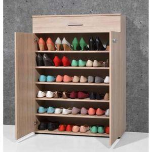 MEUBLE À CHAUSSURES Armoire meuble à chaussures chêne sonoma avec 2 po