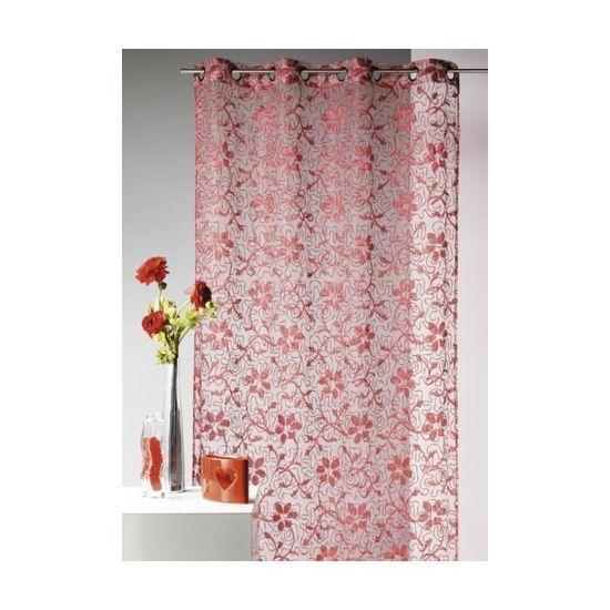Voilage Fleurs Brodées Brillant Home Maison Rouge 140 X 240