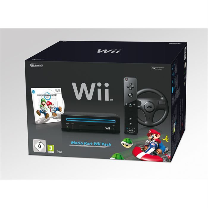 pack wii noir mario kart achat vente console wii pack. Black Bedroom Furniture Sets. Home Design Ideas