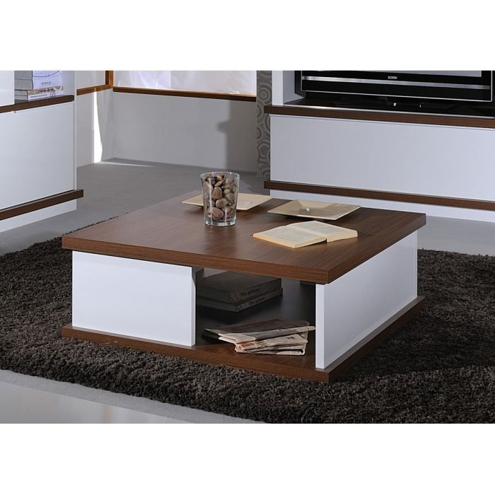 brera table basse carr e laqu blanc ch ne fonc achat. Black Bedroom Furniture Sets. Home Design Ideas