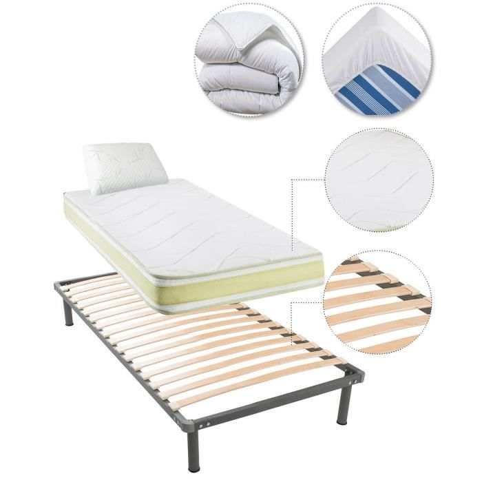 greeneo matelas sommier oreiller couette prot ge matelas 90x200 cm m moire de forme. Black Bedroom Furniture Sets. Home Design Ideas