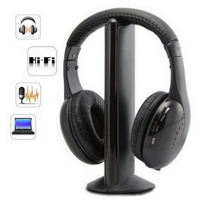 5 en 1 Hi-Fi casque sans fil écouteurs casque pour PC portable TV radio FM MP3