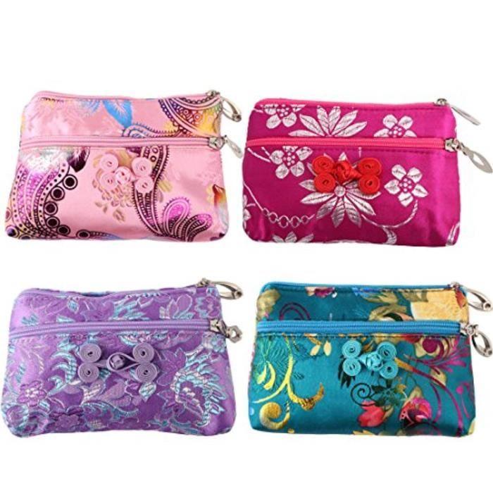 Porte-Cartes Y7IX7 4pc soie chinoise Brocade 2 Sac Zipper Bijoux Sac pochette valeur Set