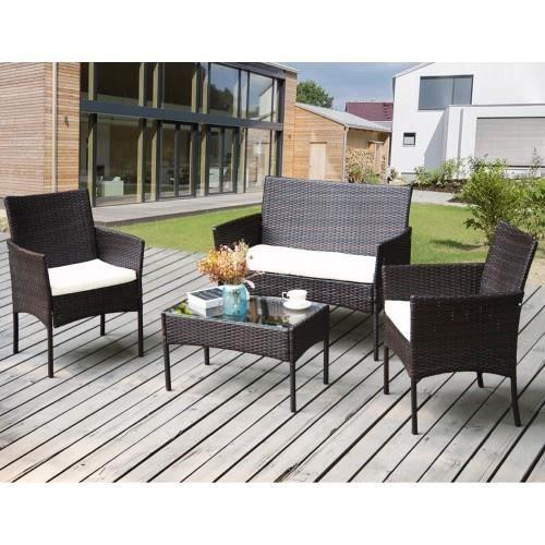 Salon de jardin en osier Meubles d'extérieur Ensemble de rotin de jardin Ensemble de terrasse-1*table+2* chaises+1* canapé 2