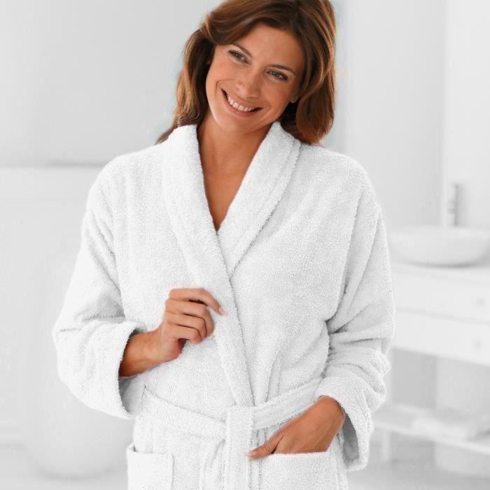 Peignoir éponge T50-52 col châle 380gr/m² - Blanc