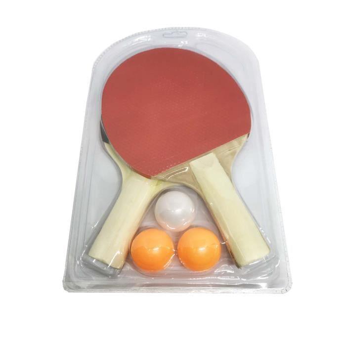 Lot de 2 raquettes de ping pong + 3 balles