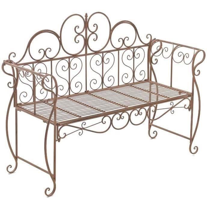 CLP Banc de Jardin Design Antique Minna - Banquette de Terrasse en Fer Forg&eacute - Style Maison de Campagne - Banquette de 52