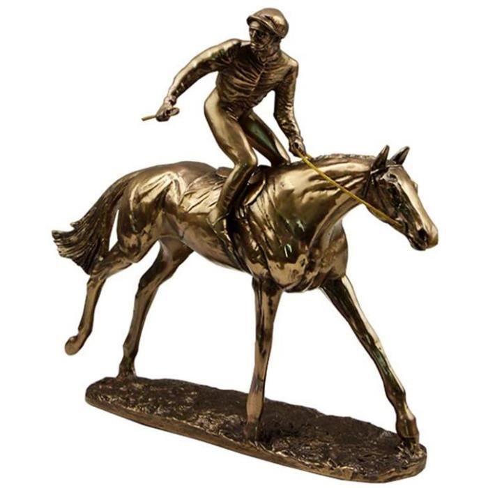 STATUETTE Course au Galop Sculpture Jockey Statue Cuivre Couleacute Agrave Froid Reacutesine Jockey Cheval Statuette Deacutecorat93
