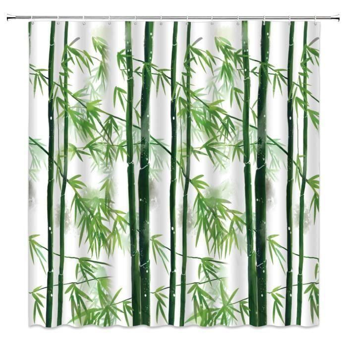 Accessoires salle de bain,Vert bambou douche rideaux printemps plante paysage oiseau papillon - Type 3125ZW - 70x82inch-180x210cm