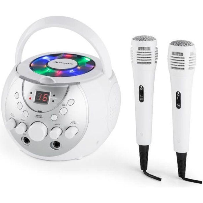 auna SingSing Lecteur karaoké CD multiformat portable avec écran LED + 2 micros - sortie vidéo CD+G et RCA - blanc