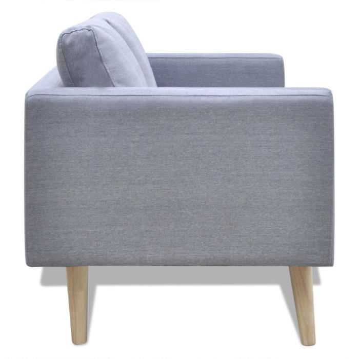 Canapé à 2 places Tissu Gris clair -ROE