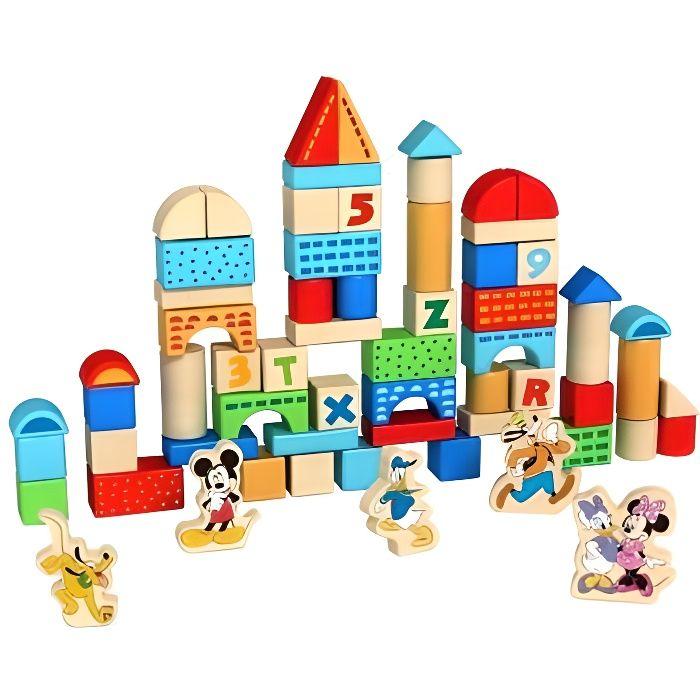 Seau Baril 100 cubes blocs en bois dont 5 Figurines Disney - Jeu construction - Bois FSC 100% - Jouet bebe, enfant