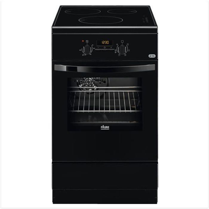 FAURE – FCI57301BA – Cuisinière 50x60 – Induction 3 foyers - Four électrique catalyse – chaleur tournante pulsée - Noir