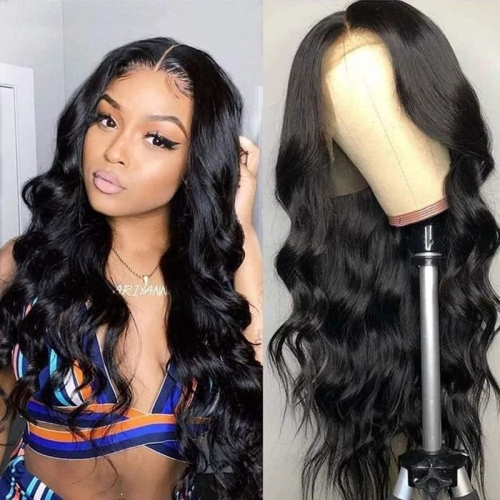 20 pouce Lace Wig Body Wave avec des cheveux de bébé brésilienne perruque naturelle perruque pour femmes