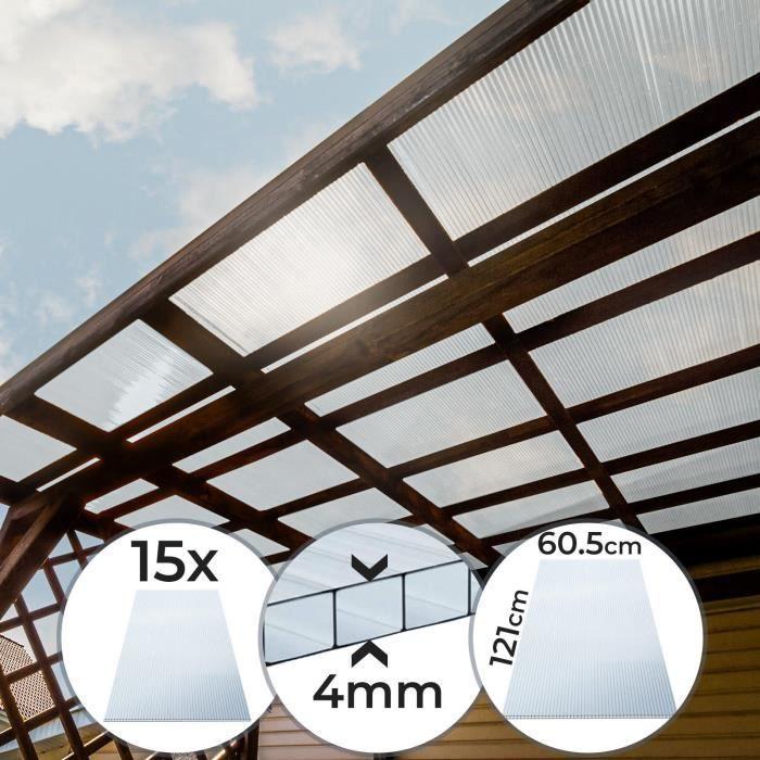 Lot de 15 Plaques en Polycarbonate - à Double Paroi, 121x60.5x0.4 cm, 11 m², UV Résistant - Feuilles, Panneaux pour Serre de Jardin