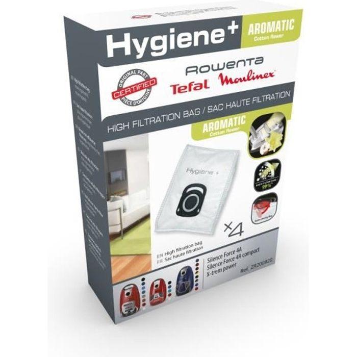 Pack de 4 sacs Haute Filtration Hygiène+ pour ROWENTA Silence Force / X-trem Power