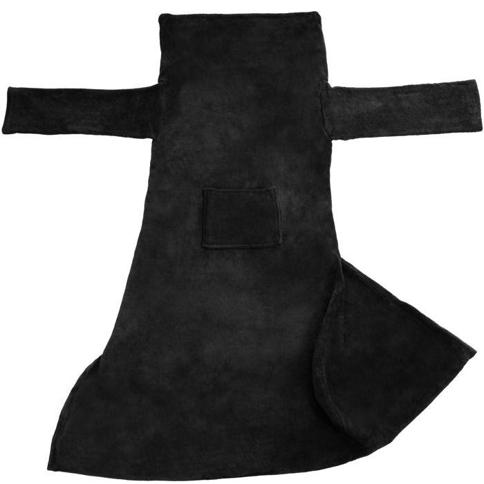TECTAKE Plaid Canapé avec Manches Doux en Polyester 200 cm x 170 cm Noir