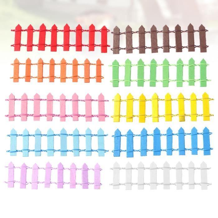 10ocs Mini Clôtures Micro Petite Clôture en bois de clôture de paysage 10 couleurs pour le jardin de fées OBJET DECORATIF