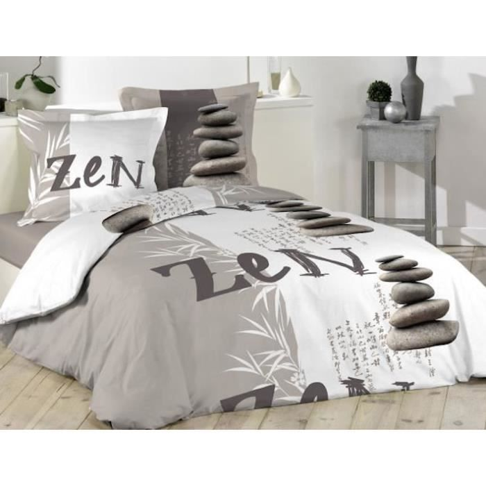 housse de couette grise et blanche zen bambou 220 x 240 2. Black Bedroom Furniture Sets. Home Design Ideas