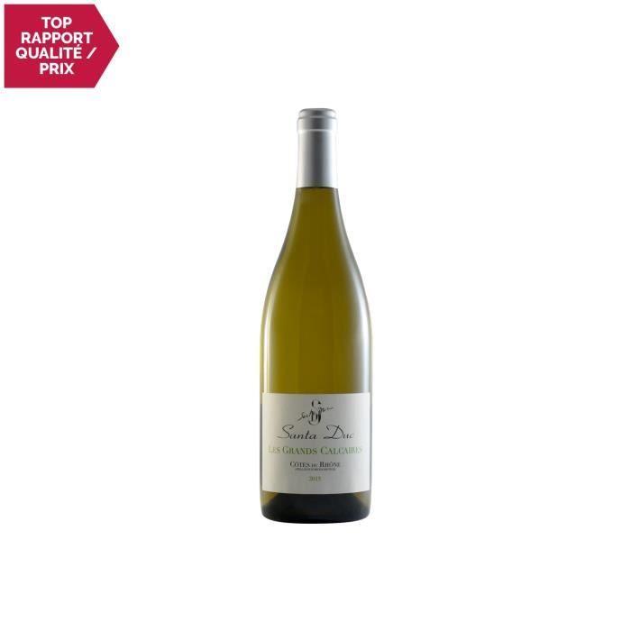 VIN BLANC Côtes du Rhône Les Grands Calcaires Blanc 2015 - D
