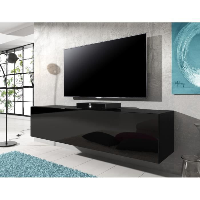 meuble tv flottant rocco noir 140 cm achat vente meuble tv meuble tv flottant rocco no. Black Bedroom Furniture Sets. Home Design Ideas
