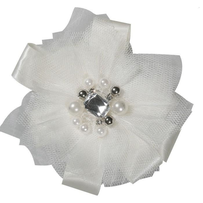 broche fleur tulle satin ivoire avec perles et strass. Black Bedroom Furniture Sets. Home Design Ideas