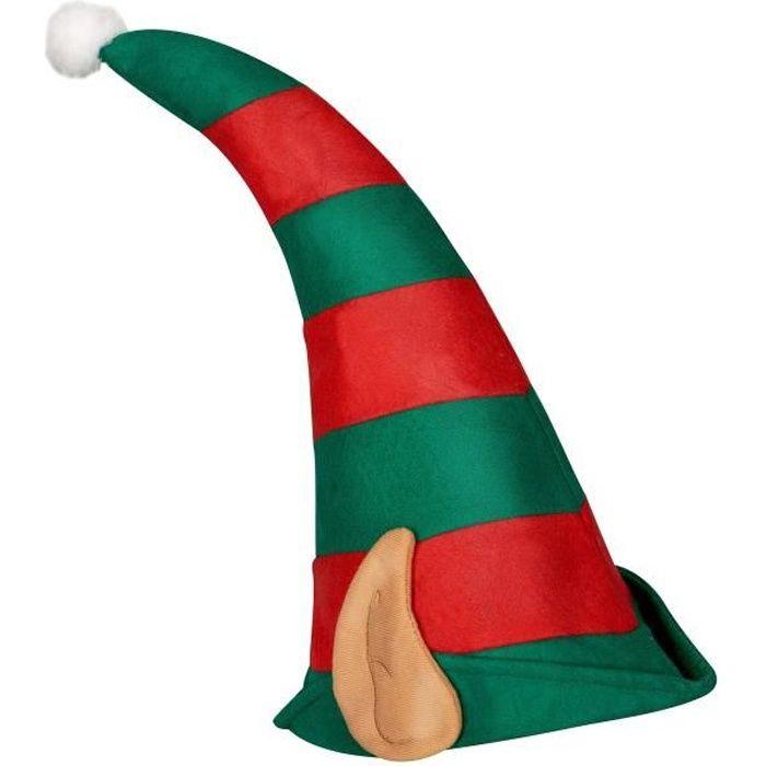 CHAPEAU - PERRUQUE Bonnet lutin du Père Noël rayé avec oreilles adult