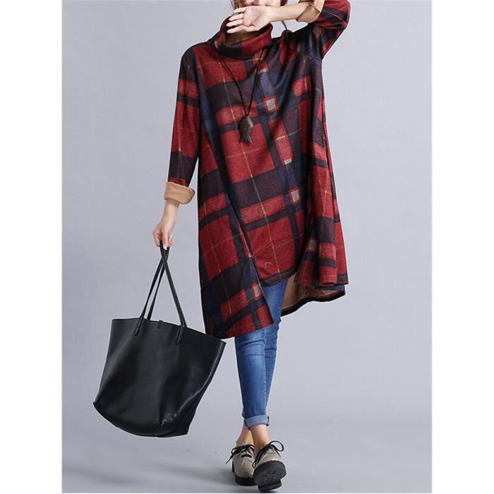 Robe de style vintage Loose Women col roulé Plaid Colorblock Dress 2444708