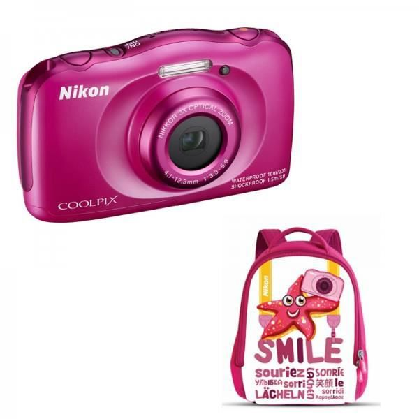 nikon coolpix s33 sac dos rose achat vente appareil photo compact cdiscount. Black Bedroom Furniture Sets. Home Design Ideas
