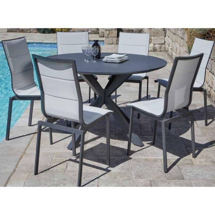 Ensemble de jardin avec 1 table ronde + 6 chaises empilables ...