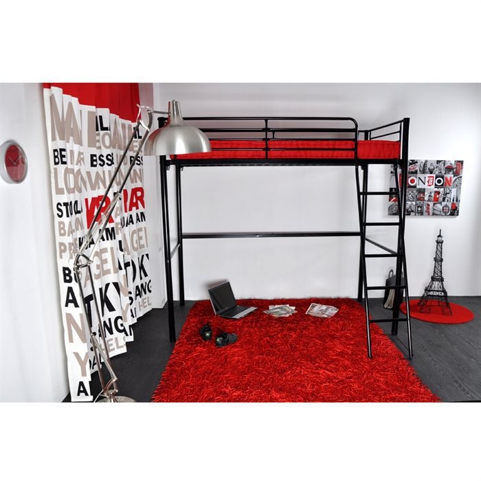 rocket lit mezzanine enfant 90x190 matelas rouge achat. Black Bedroom Furniture Sets. Home Design Ideas