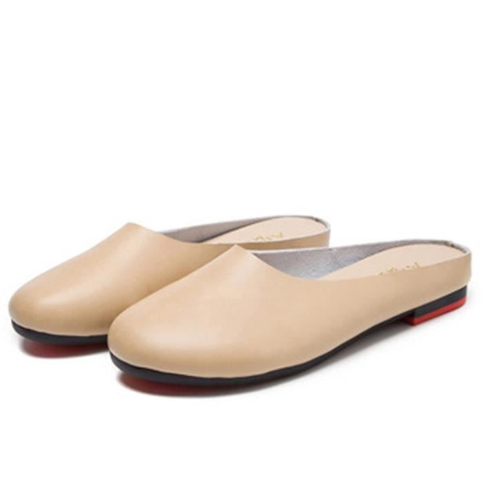 Slip-on Casual en cuir solide Slipper Mule Mocassins Flats Chaussures NNFWU Taille-40