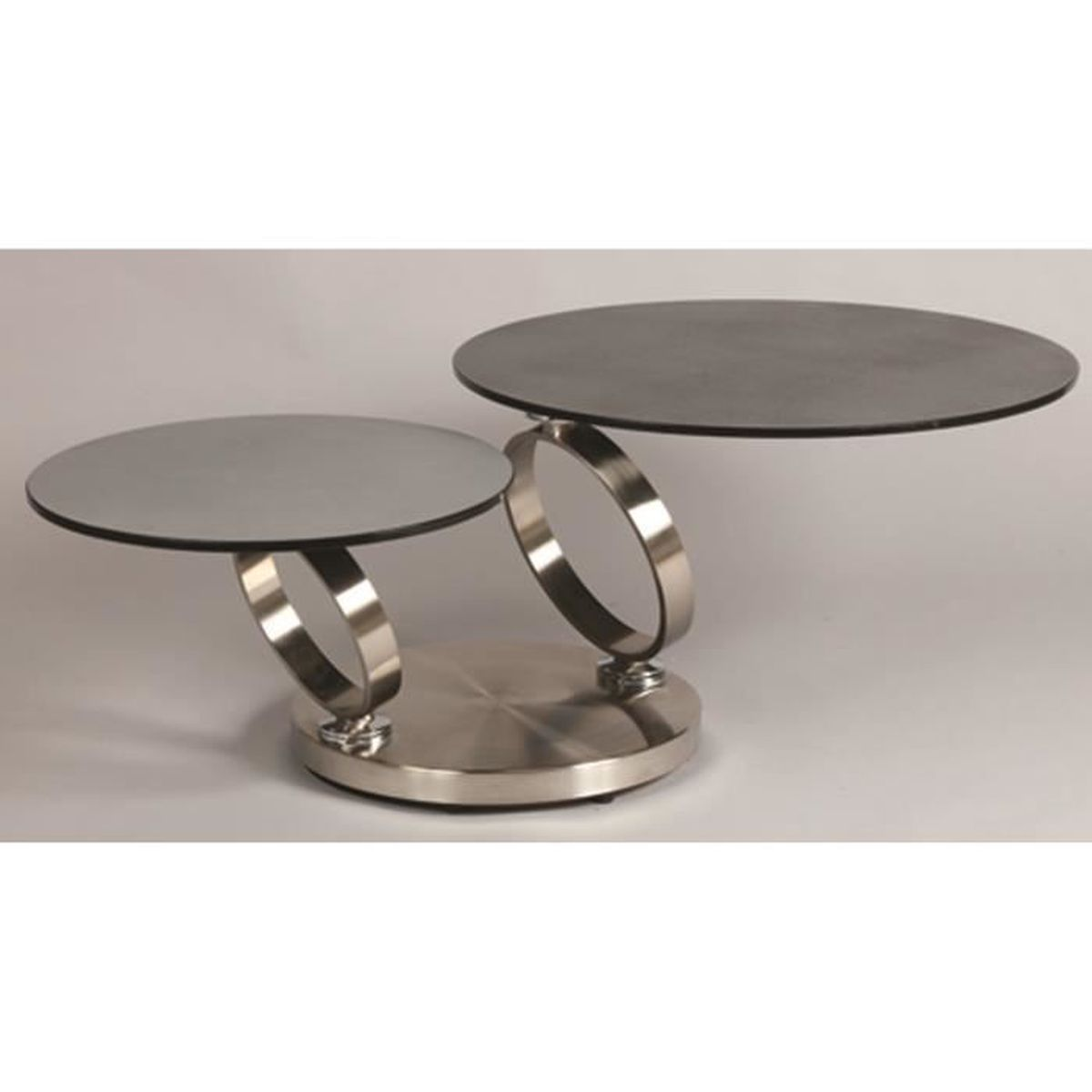 table basse avec 2 plateaux en verre tremp aspect. Black Bedroom Furniture Sets. Home Design Ideas