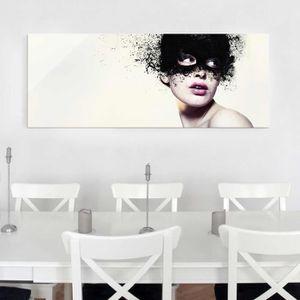 CADRE PHOTO 40x100 cm verre image - la fille avec le masque no