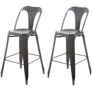 tabouret de bar industriel avec dossier achat vente pas cher. Black Bedroom Furniture Sets. Home Design Ideas