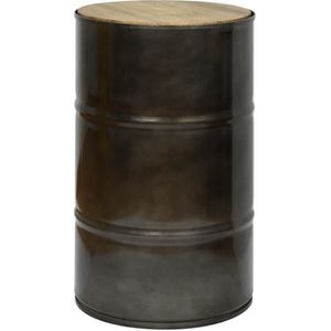 TABLE D'APPOINT Tabouret bas bidon industriel metal 38 dia x 60 cm