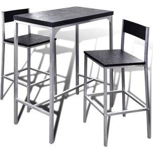 MANGE-DEBOUT Lot Table de Bar en Bois et Chaise de Repose-pieds