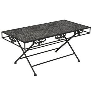 TABLE BASSE Table Basse Pliante Style Vintage Métal Noir 100 x