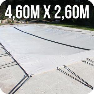 BÂCHE - COUVERTURE  Bâche d'hivernage PVC beige 580g/m² piscine 4x2m