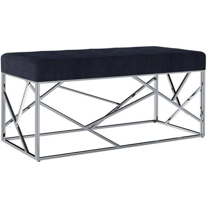 Banc de table de séjour, Banc d'entrée, Banc à chaussures Noir Tissu de velours et acier inoxydable - 97 x 44 x 46 cm
