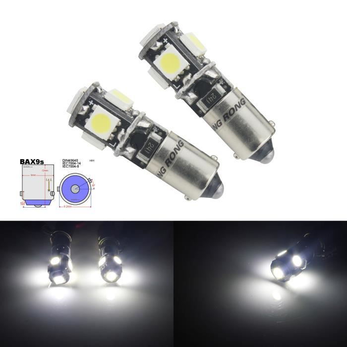 ANGRONG 2x H6W BAX9S LED 5 SMD Ampoules Blanc Xenon Anti Erreur Veilleuse Feu de Position Canbus 12v