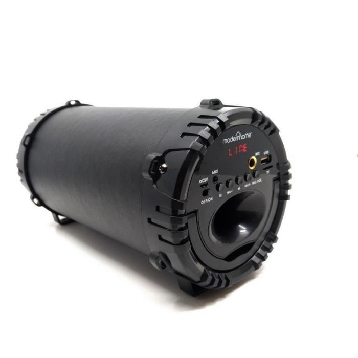 MODERNHOME - BOOM BOX BLUETOOTH KARAOKE MP3 -Haut-parleur -Ampli -Radio - Volume microphone -Lumière LED - USB -AUX -Batterie rechar