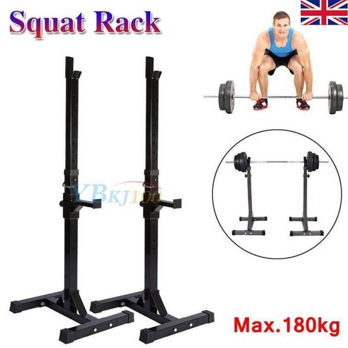 Repose Barre Musculation Support De Haltère Rack A Squat Réglable En Hauteur